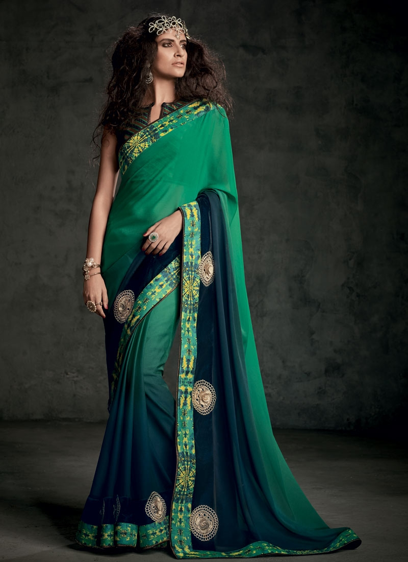 Sparkling Booti And Lace Work Party Wear Saree