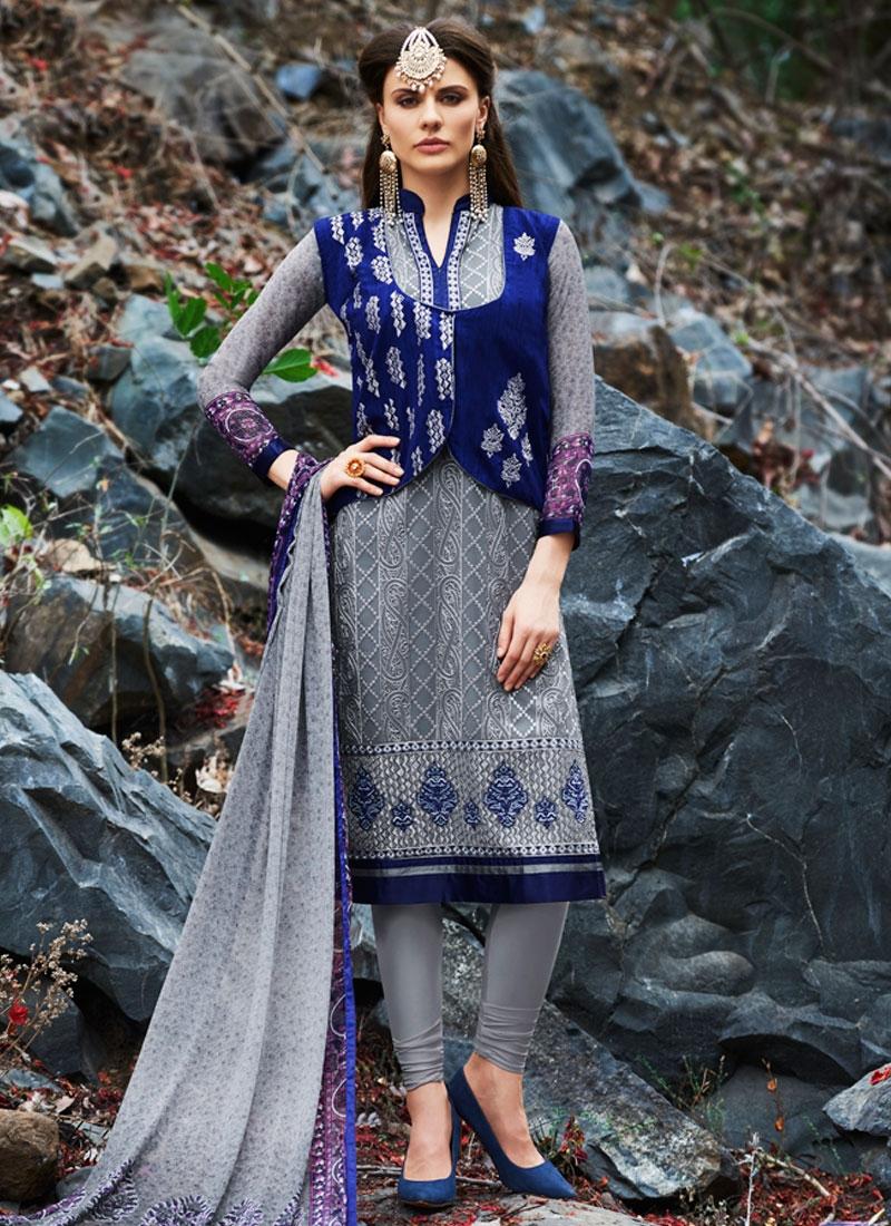 Sparkling Booti Work Jacket Style Party Wear Salwar Kameez
