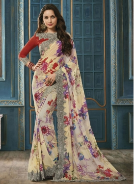 Sparkling Cream and Red Digital Print Work Classic Saree