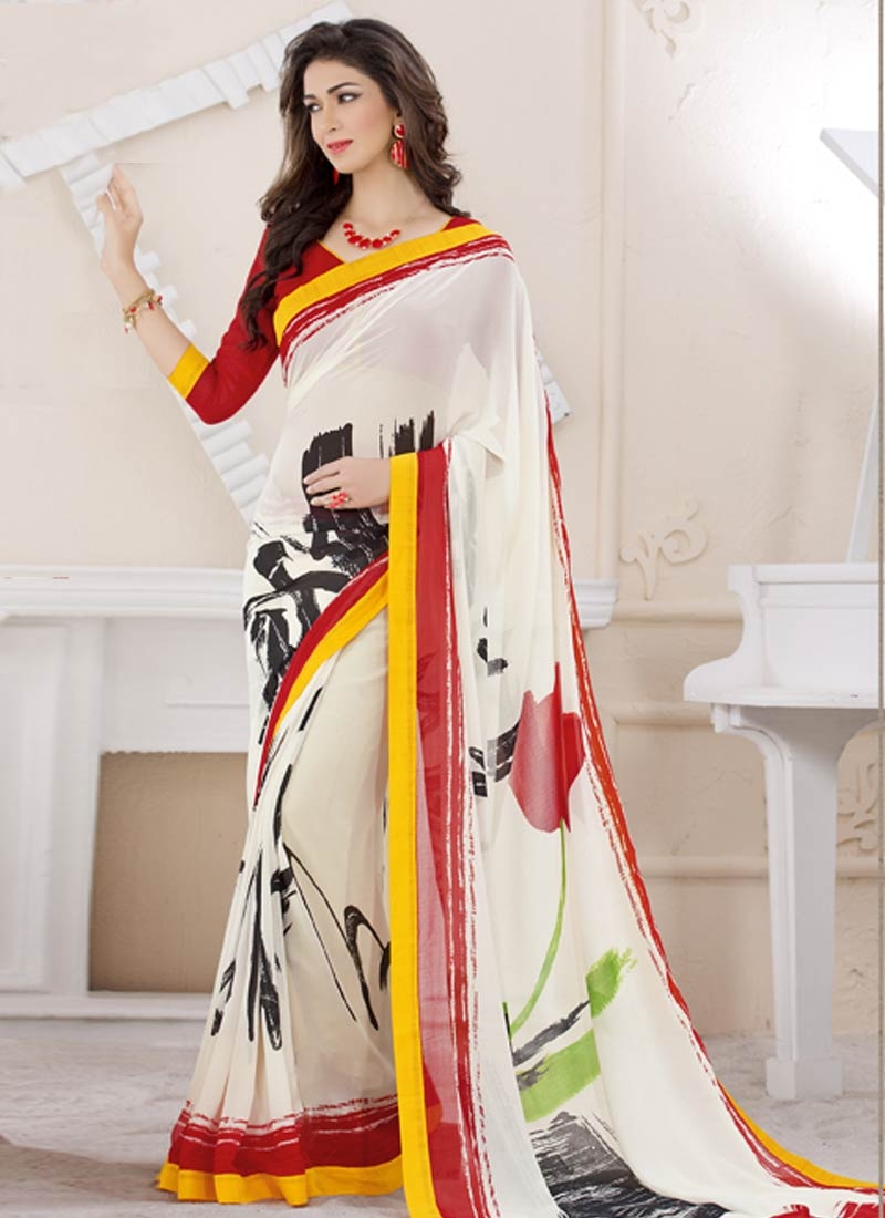 Sparkling Digital Print And Lace Work Casual Saree