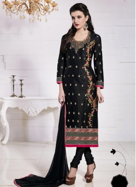 Sparkling  Embroidered Work Straight Pakistani Salwar Kameez