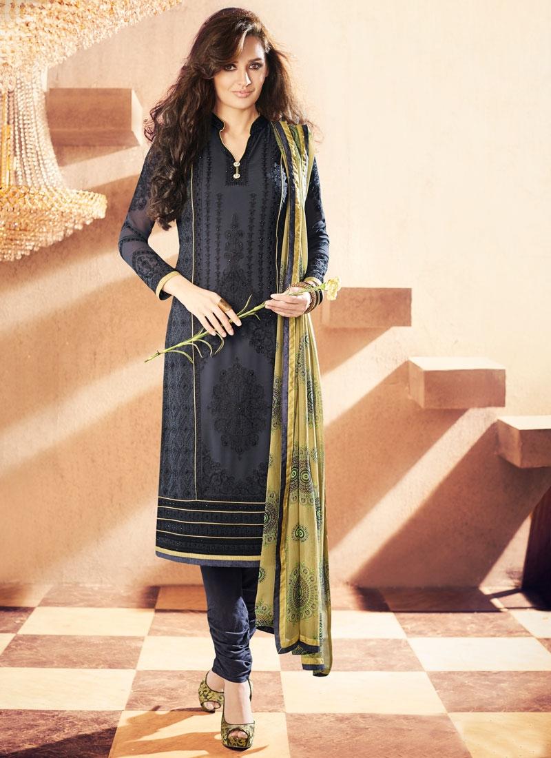 Sparkling Embroidery Work Black Color Churidar Suit
