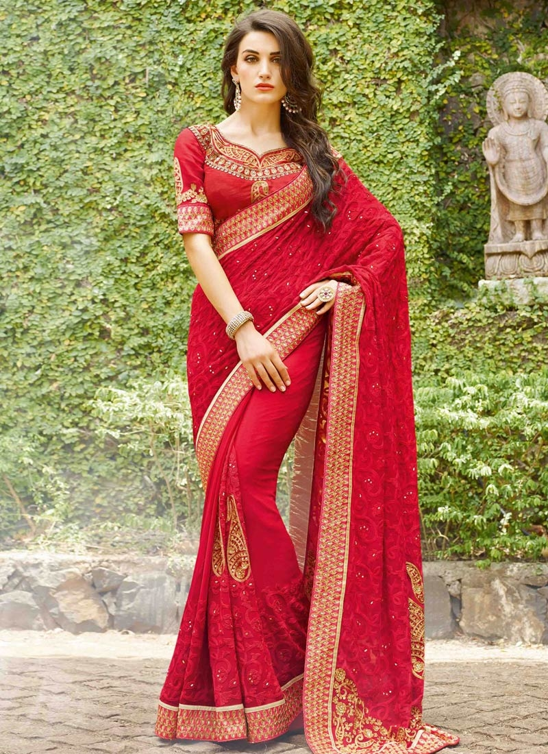 Sparkling Embroidery Work Red Color Wedding Saree
