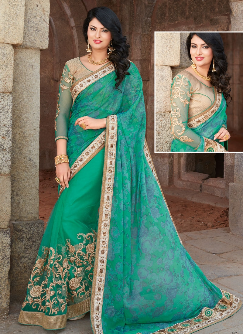 Sparkling Faux Chiffon And Net Stone Work Wedding Saree