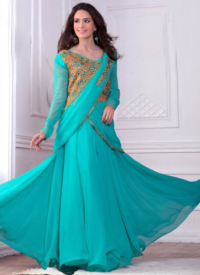 Sparkling Faux Georgette Designer Readymade Gown