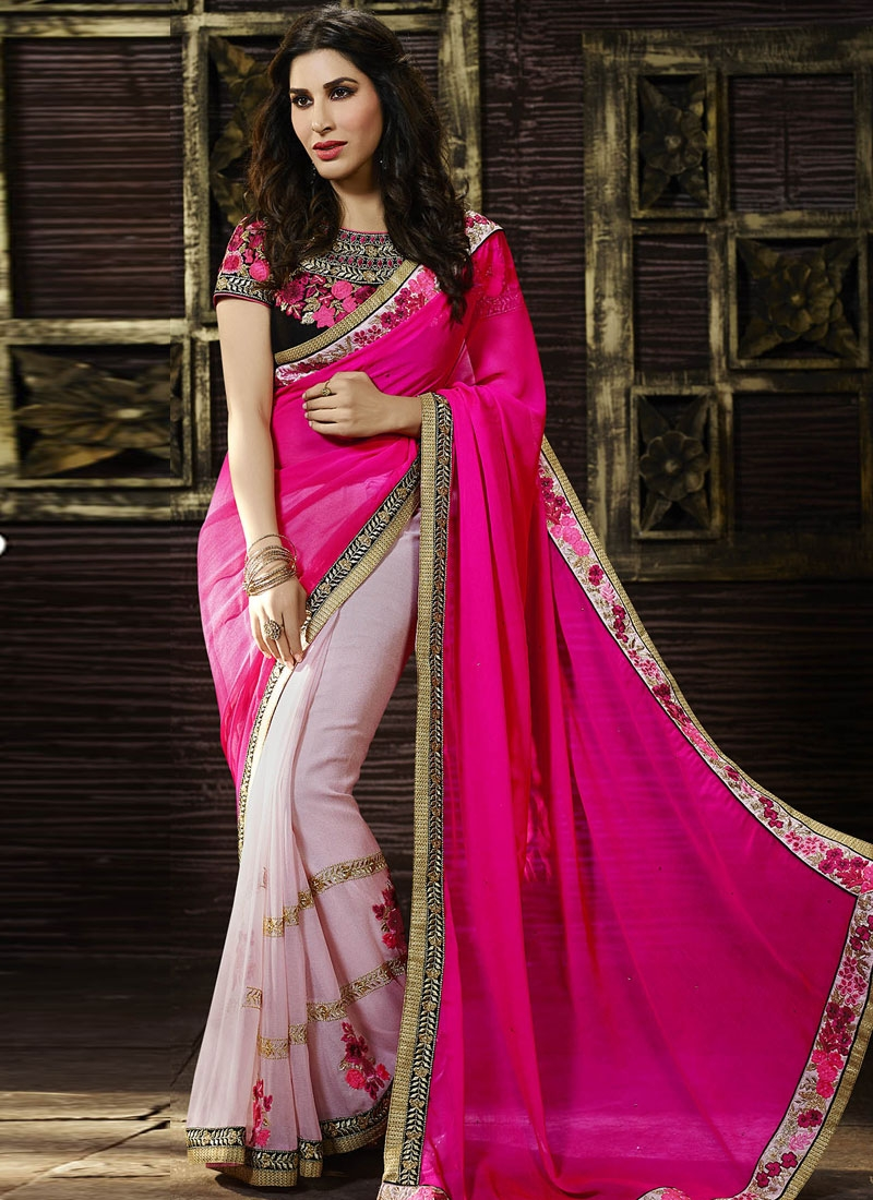 Sparkling Floral Work Half N Half Party Wear Saree
