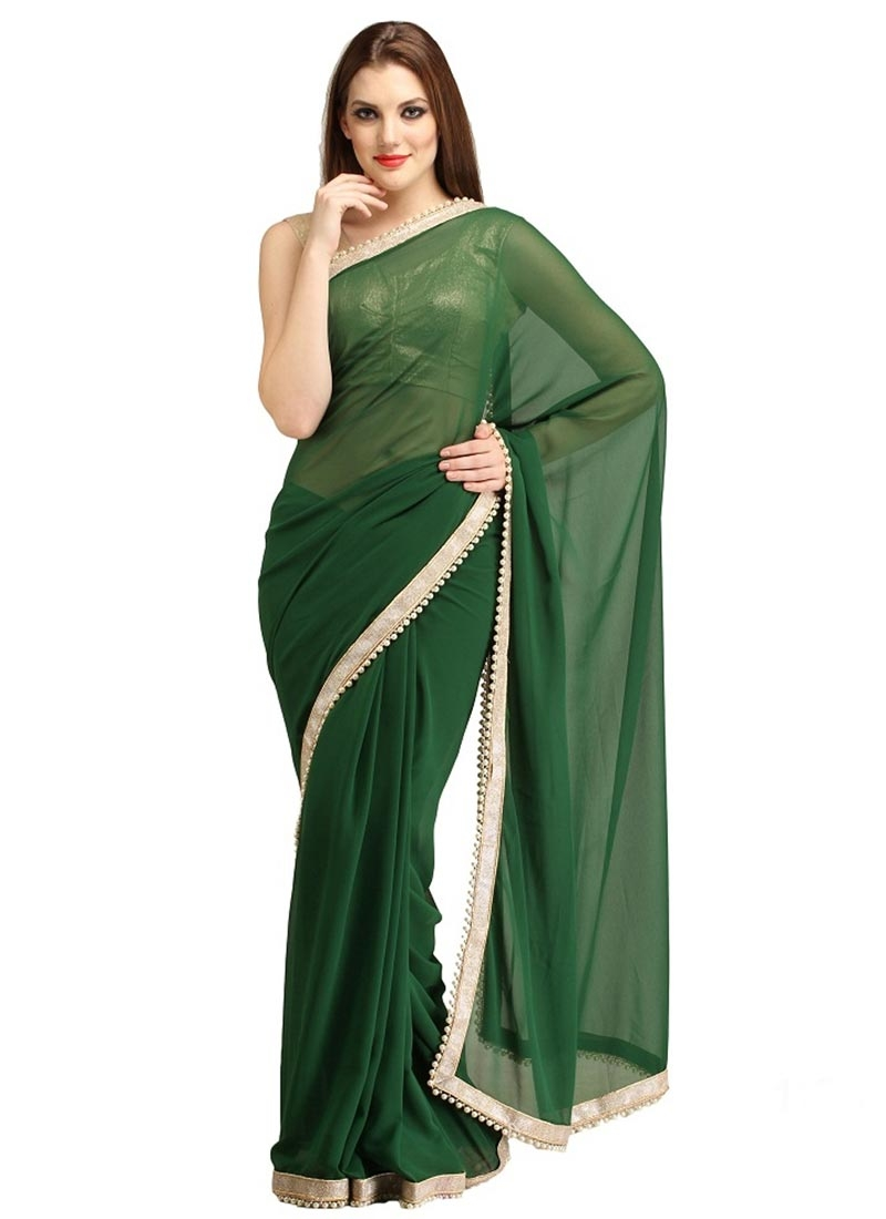 Sparkling Green Color Faux Georgette Casual Saree