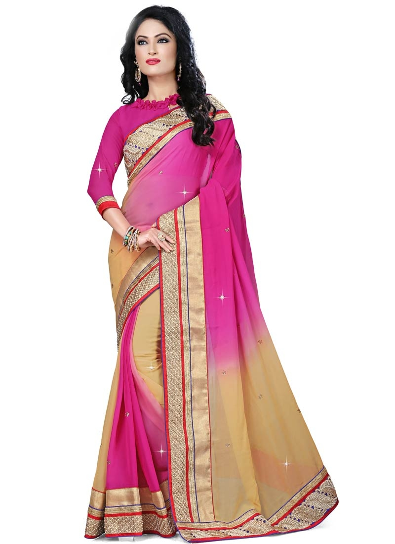 Sparkling Lace And Beads Work Viscose Designer Saree