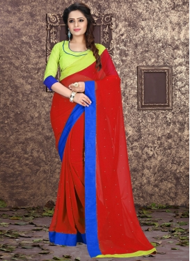Sparkling Lace And Stone Work Casual Saree