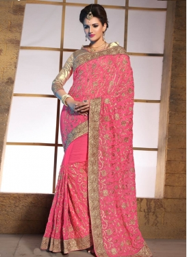 Sparkling Lace Work Hot Pink Color Wedding Saree