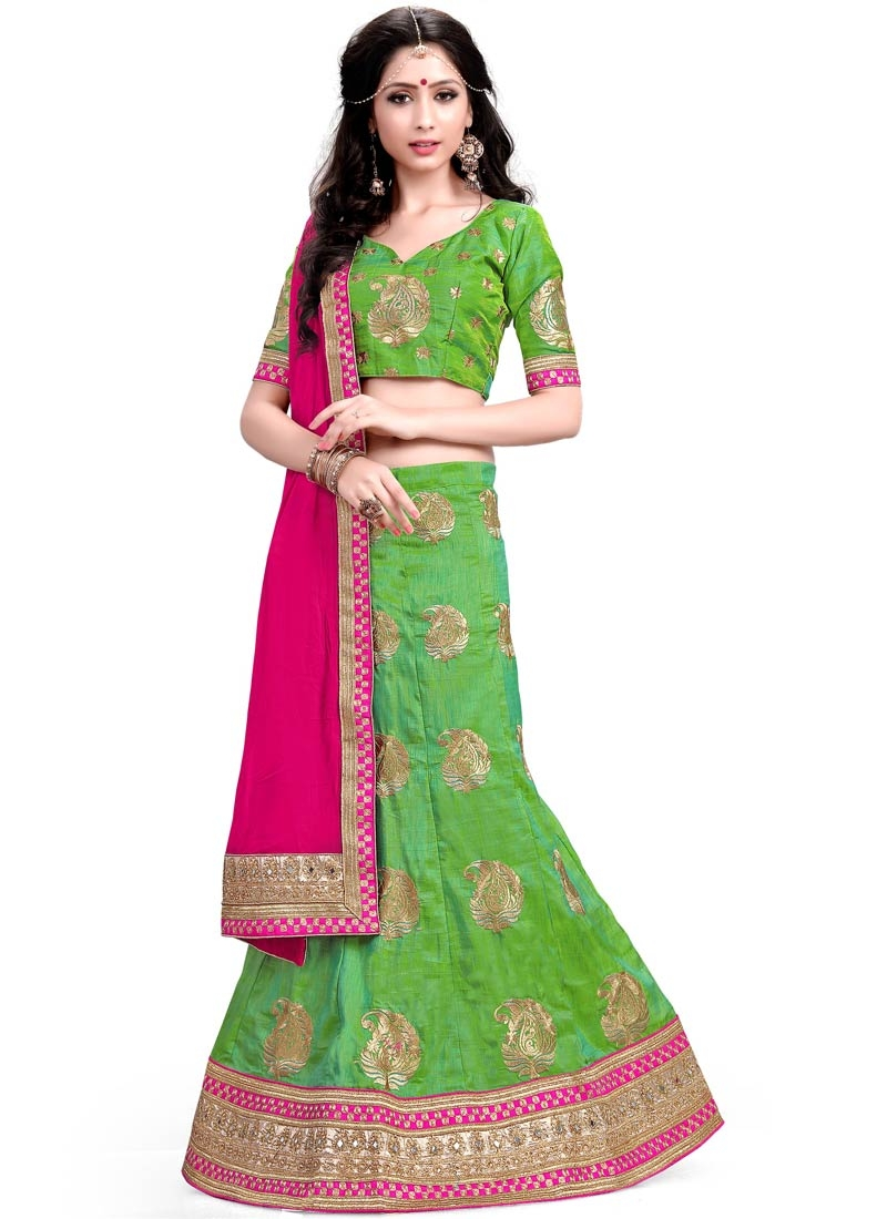Sparkling Mint Green Color Silk Designer Lehenga Choli