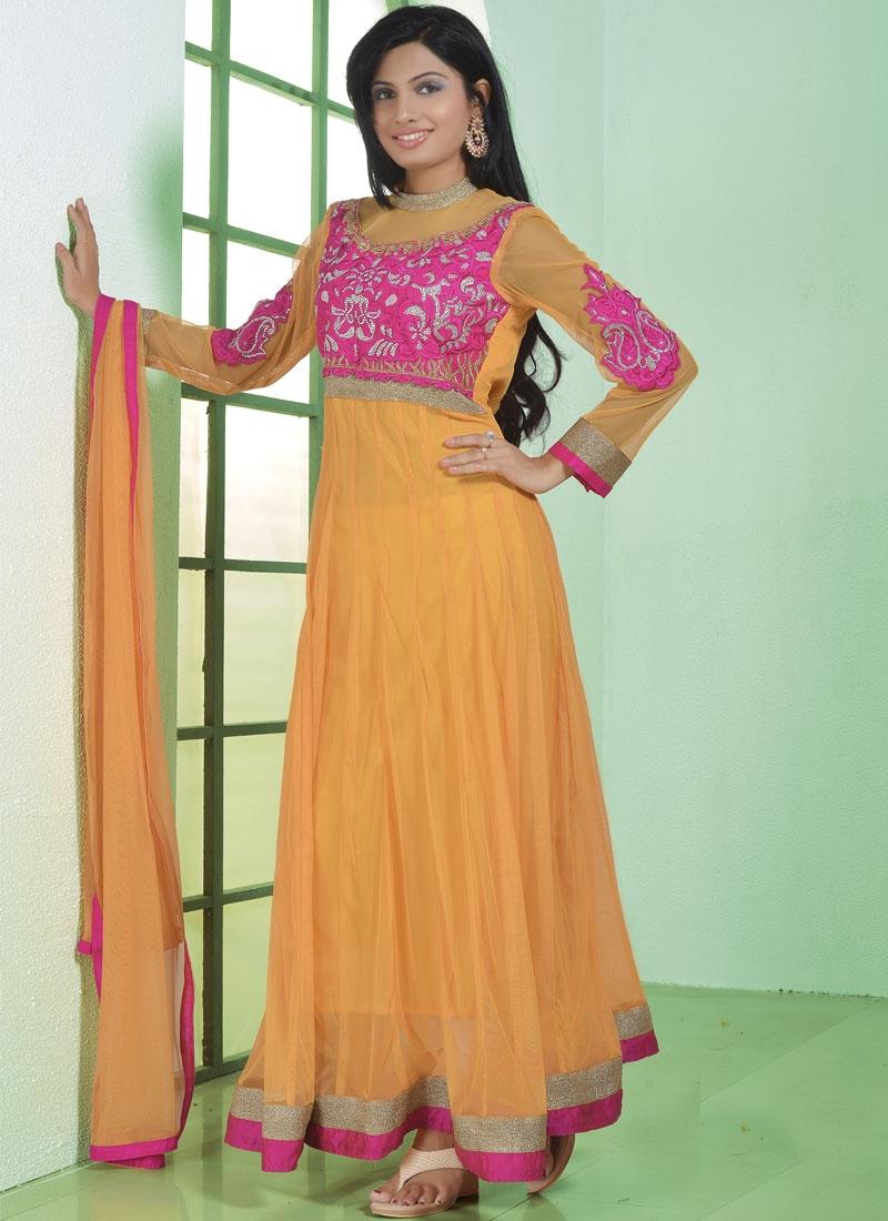 Sparkling Mustard Color Anarkali Salwar Kameez