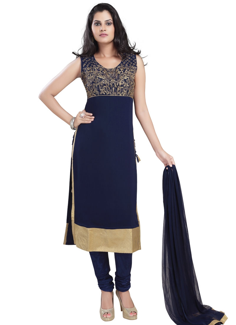 Sparkling Navy Blue Color Party Wear Readymade Salwar Suit