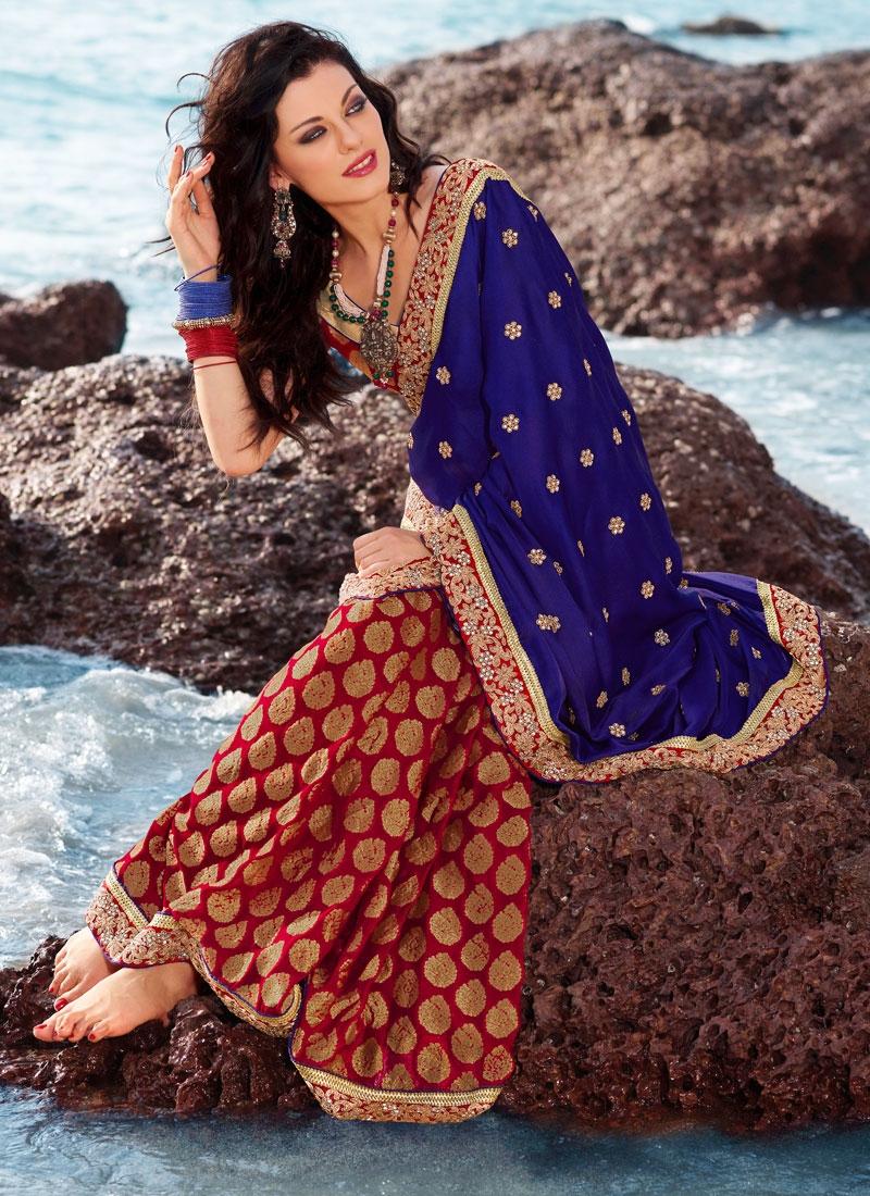 Sparkling Red And Blue Brocade Saree