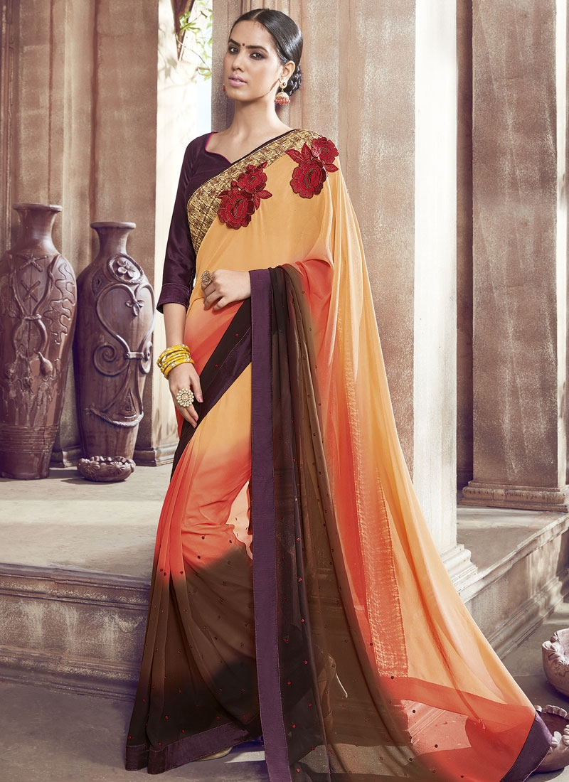 Sparkling Resham And Lace Work Party Wear Saree