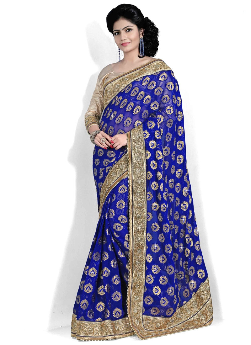 Sparkling Resham And Lace Work Wedding Saree