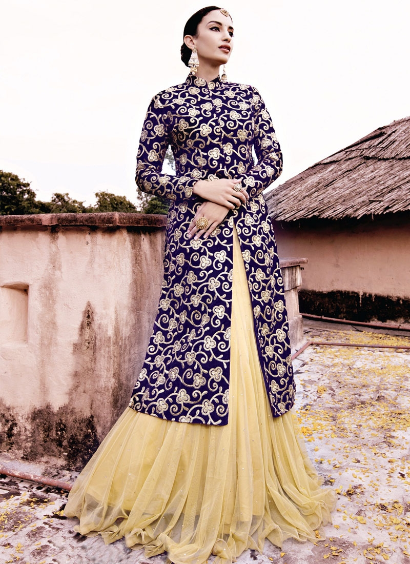 Sparkling Resham Work Net Kameez Style Designer Lehenga Choli