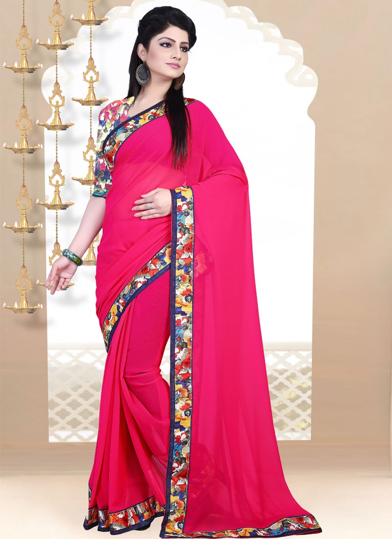 Sparkling Rose Pink Color Lace Work Casual Saree