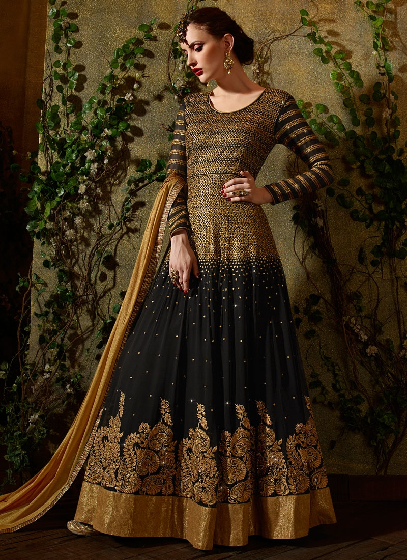 Sparkling Sequins Work Long Length Designer Salwar Kameez