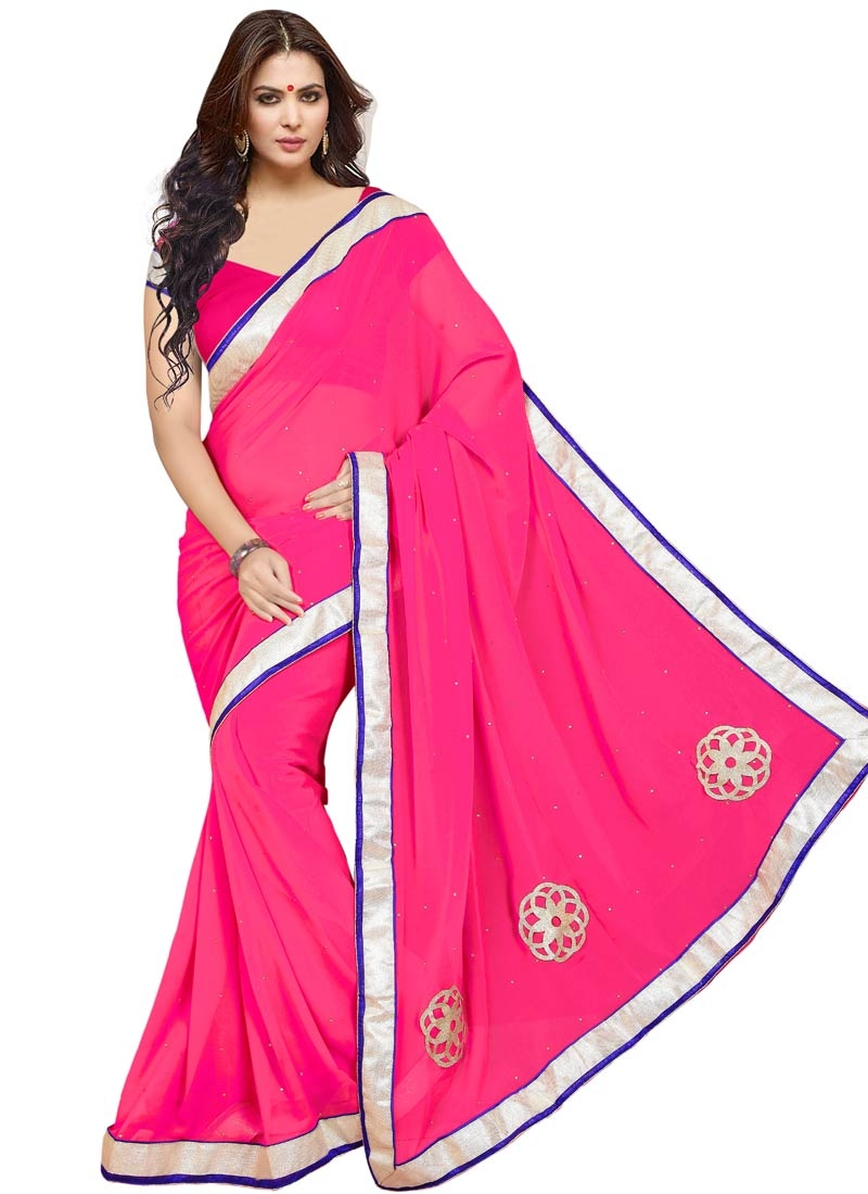 Sparkling Stone And Lace Work Casual Saree