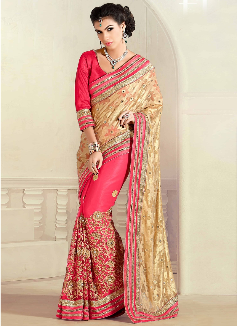 Sparkling Stone And Resham Work Half N Half Wedding Saree
