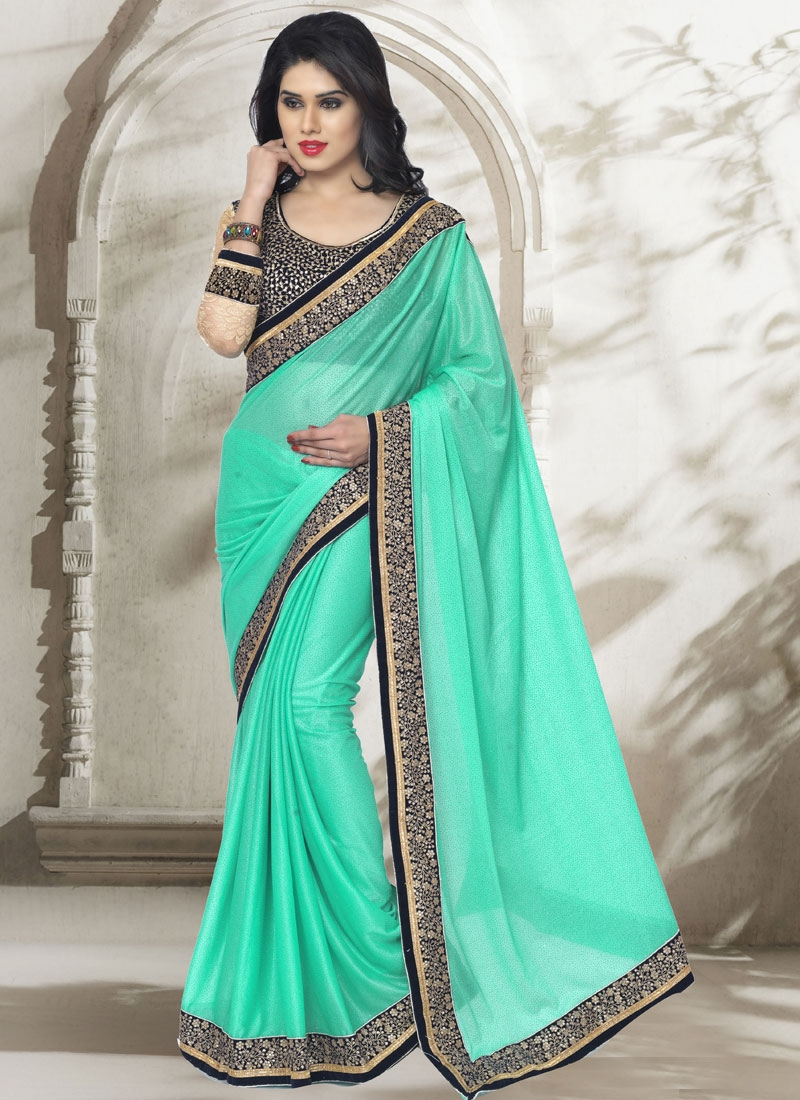 Sparkling Turquoise Color Lace Work Party Wear Saree