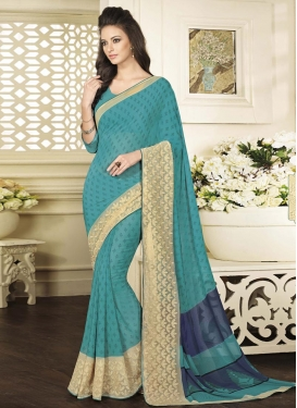 Specialised  Aqua Blue and Beige Embroidered Work Contemporary Style Saree