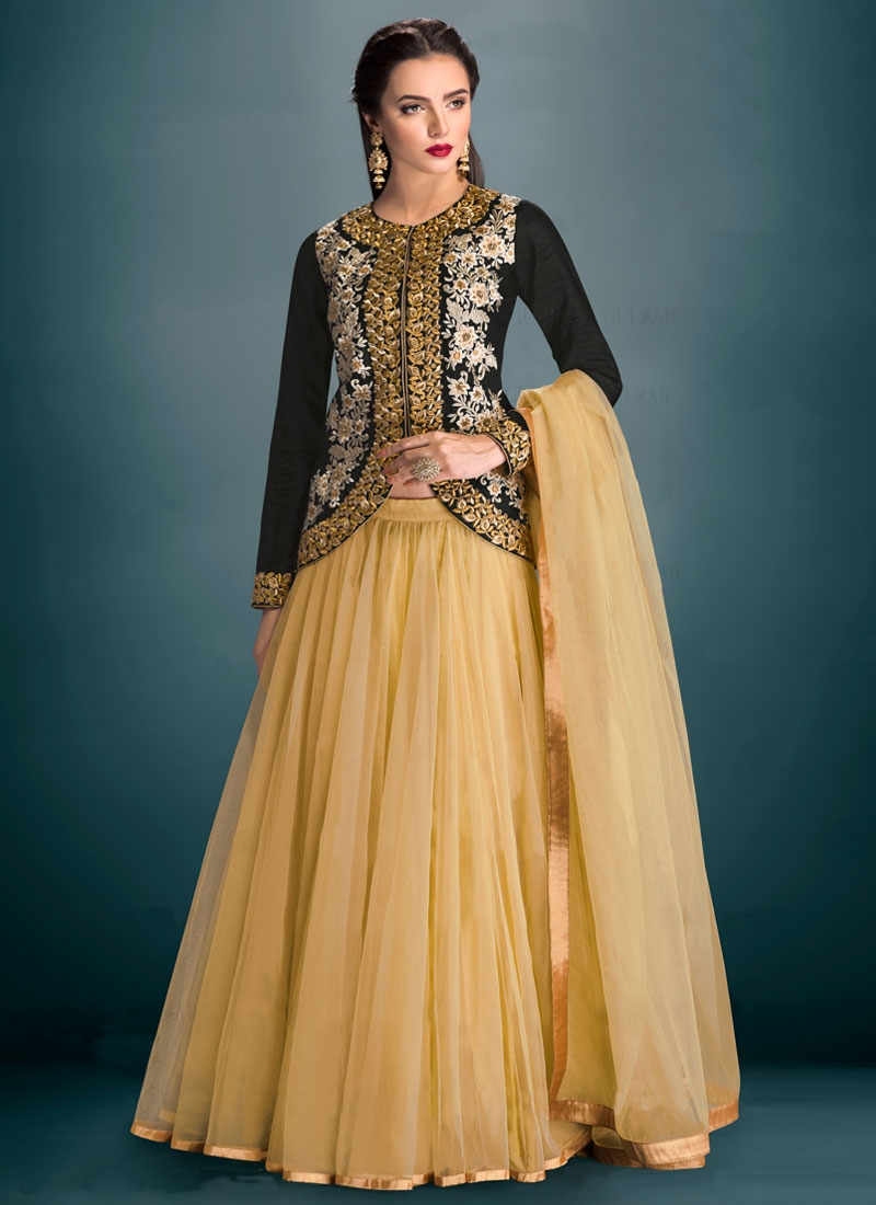 Specialised Black Color Banglori Silk Party Wear Lehenga Choli