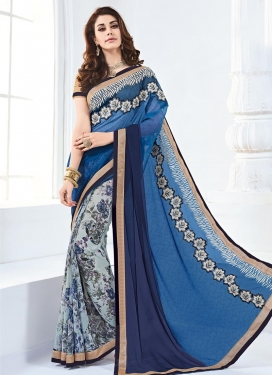 Specialised  Blue and Navy Blue Faux Georgette Half N Half Saree