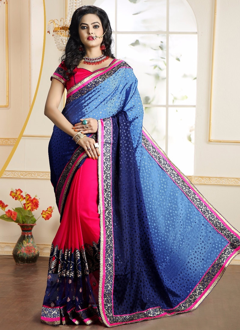 Specialised Crepe Jacquard Half N Half Party Wear Saree