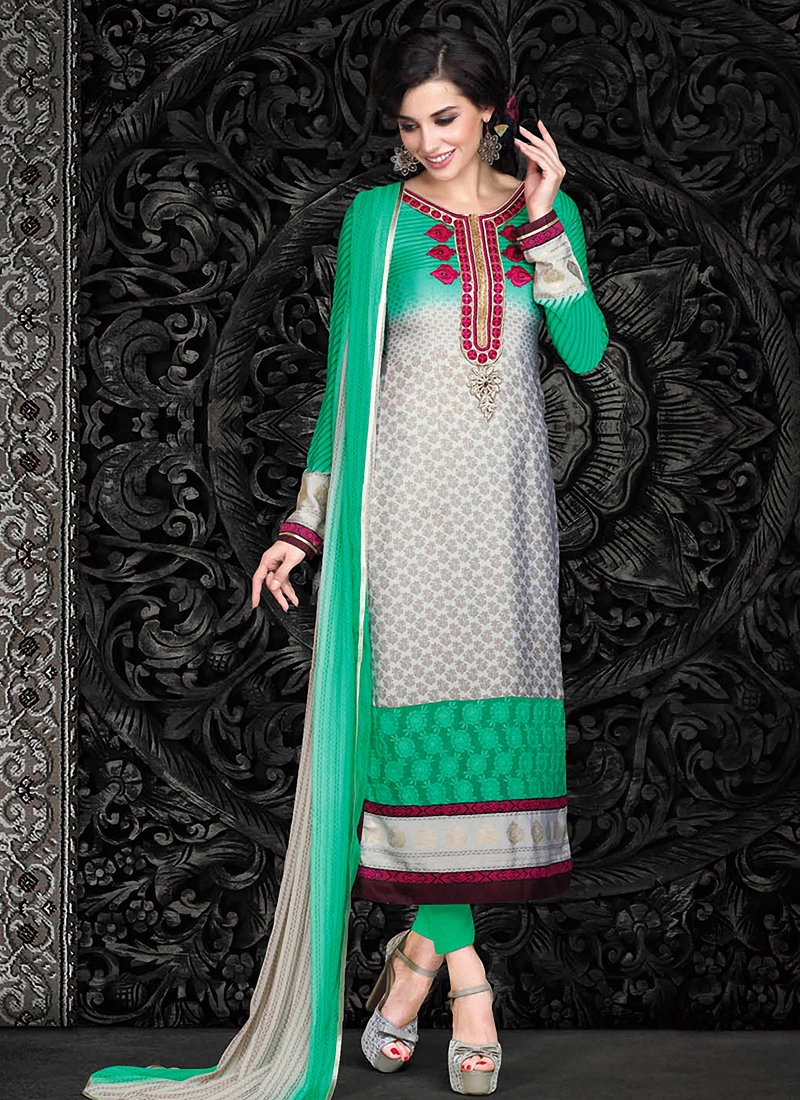 Specialised Crepe Silk Pant Style Pakistani Suit