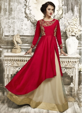 Specialised Cutdana Work Net Cream and Red Designer Kameez Style Lehenga