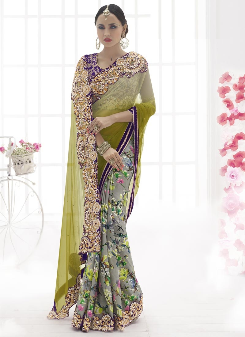 Specialised Digital Print Work Half N Half Wedding Saree