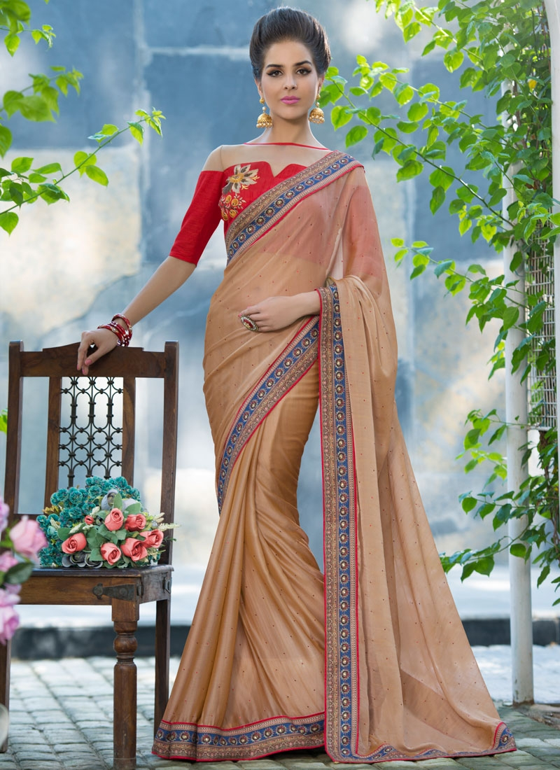 Specialised Faux Chiffon Beige Color Party Wear Saree