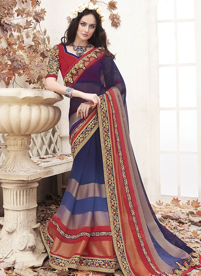 Specialised Faux Chiffon Lace Work Party Wear Saree