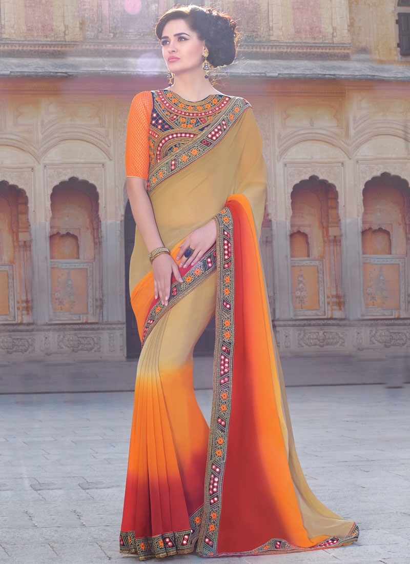 Specialised Faux Georgette Lace Work Party Wear Saree