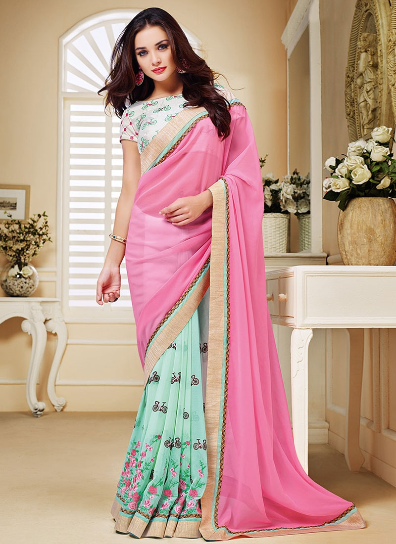 Specialised Floral Work Amy Jackson Half N Half Party Wear Saree