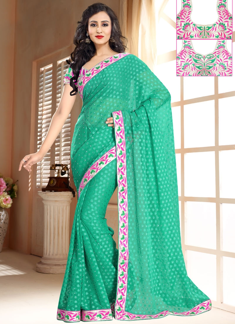Specialised Lace And Resham Work Party Wear Saree