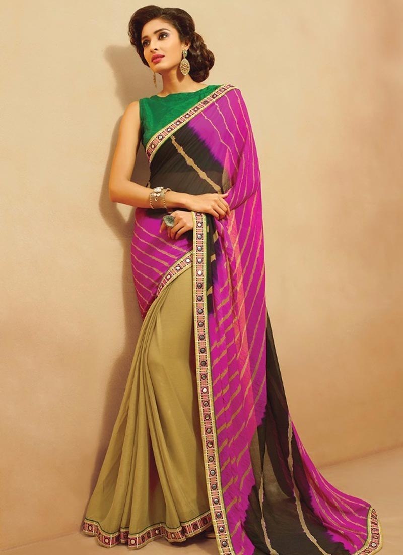 Specialised Lace Work Half N Half Casual Saree