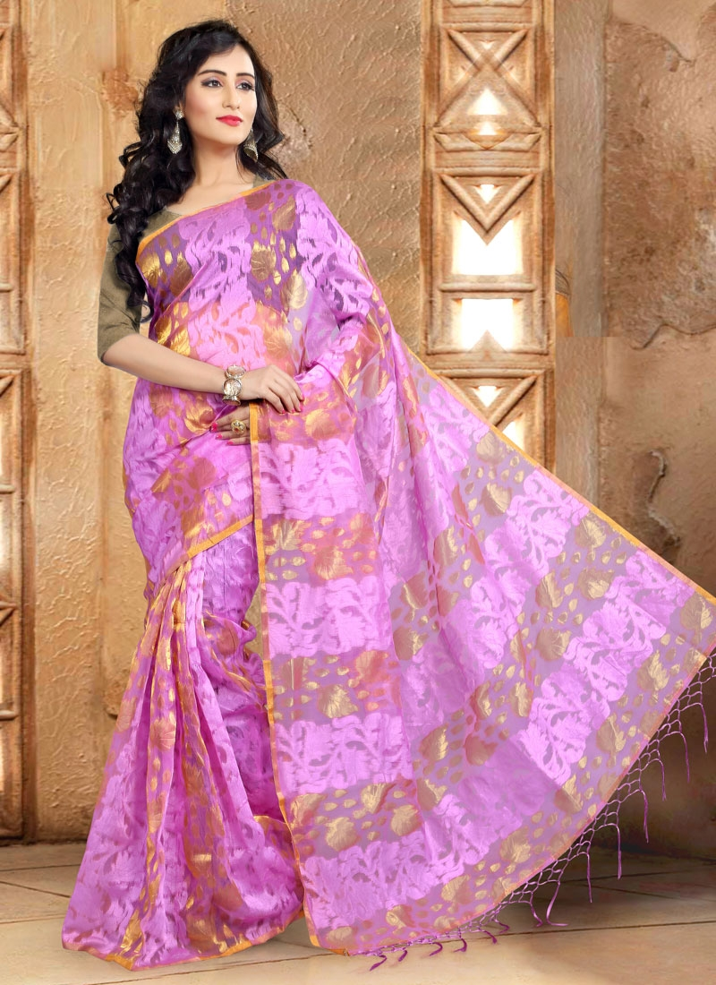 Specialised Lavender Color Banarasi Silk Casual Saree