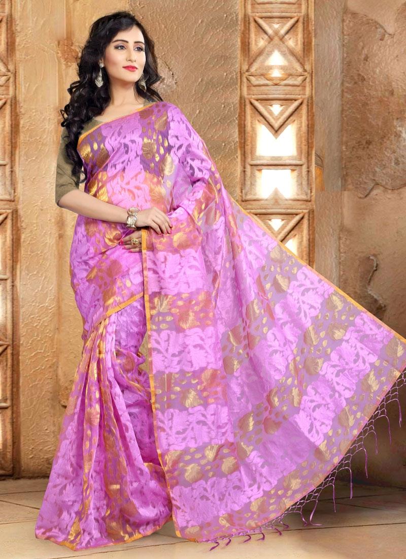 Specialised Lavender Color Banarasi Silk Casual Saree