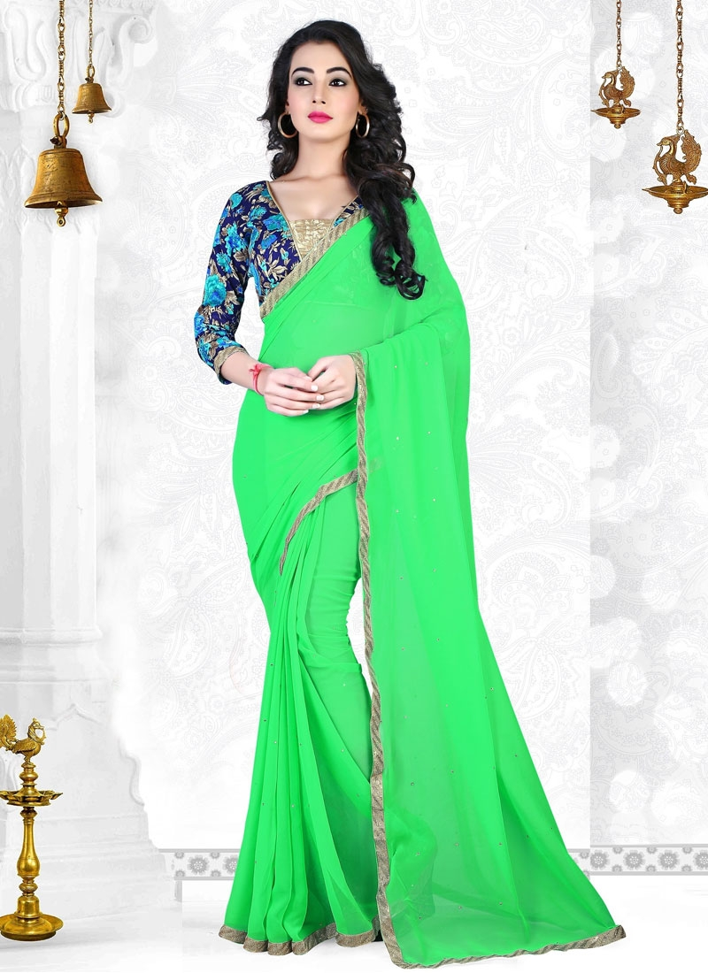 Specialised Mint Green Color Casual Saree