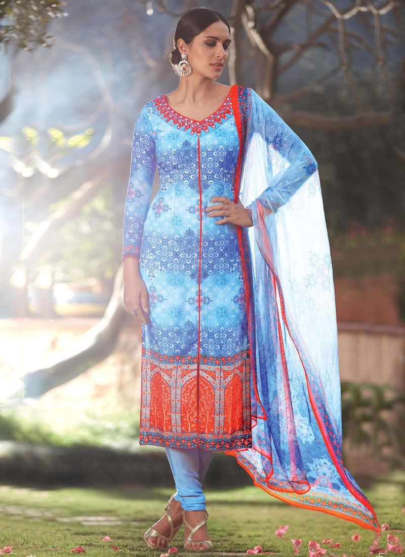 Specialised Mirror And Digital Print Work Churidar Suit