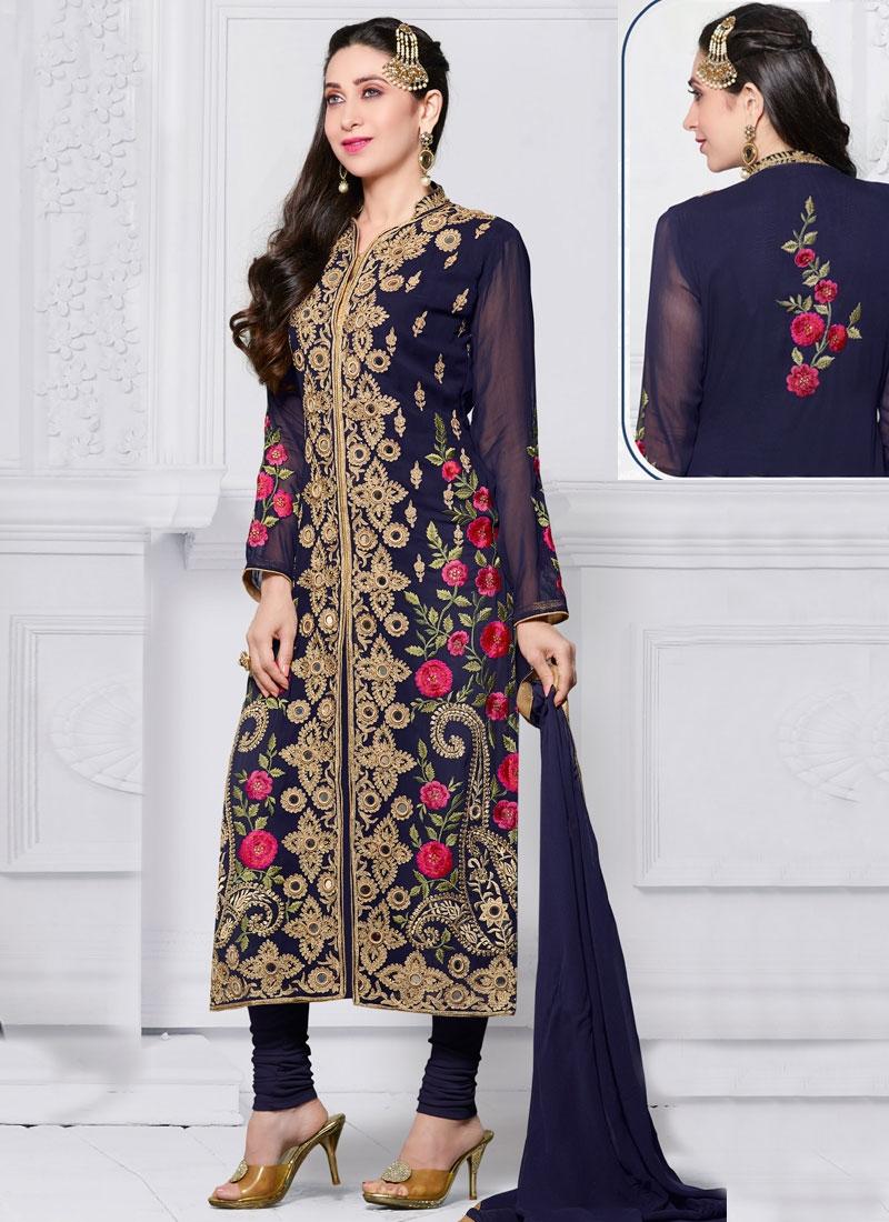 04ef8268e2 Specialised Mirror Work Karisma Kapoor Long Length Designer Salwar Suit