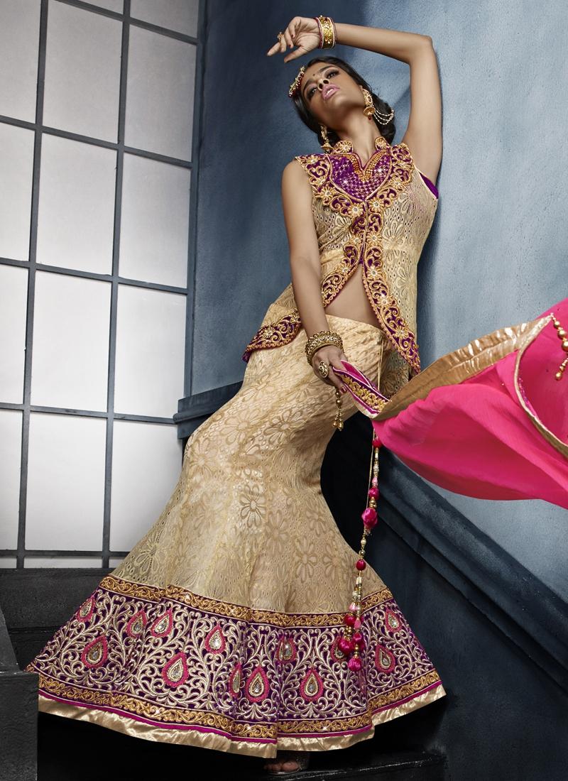 Specialised Net Jacquard Designer Lehenga Choli