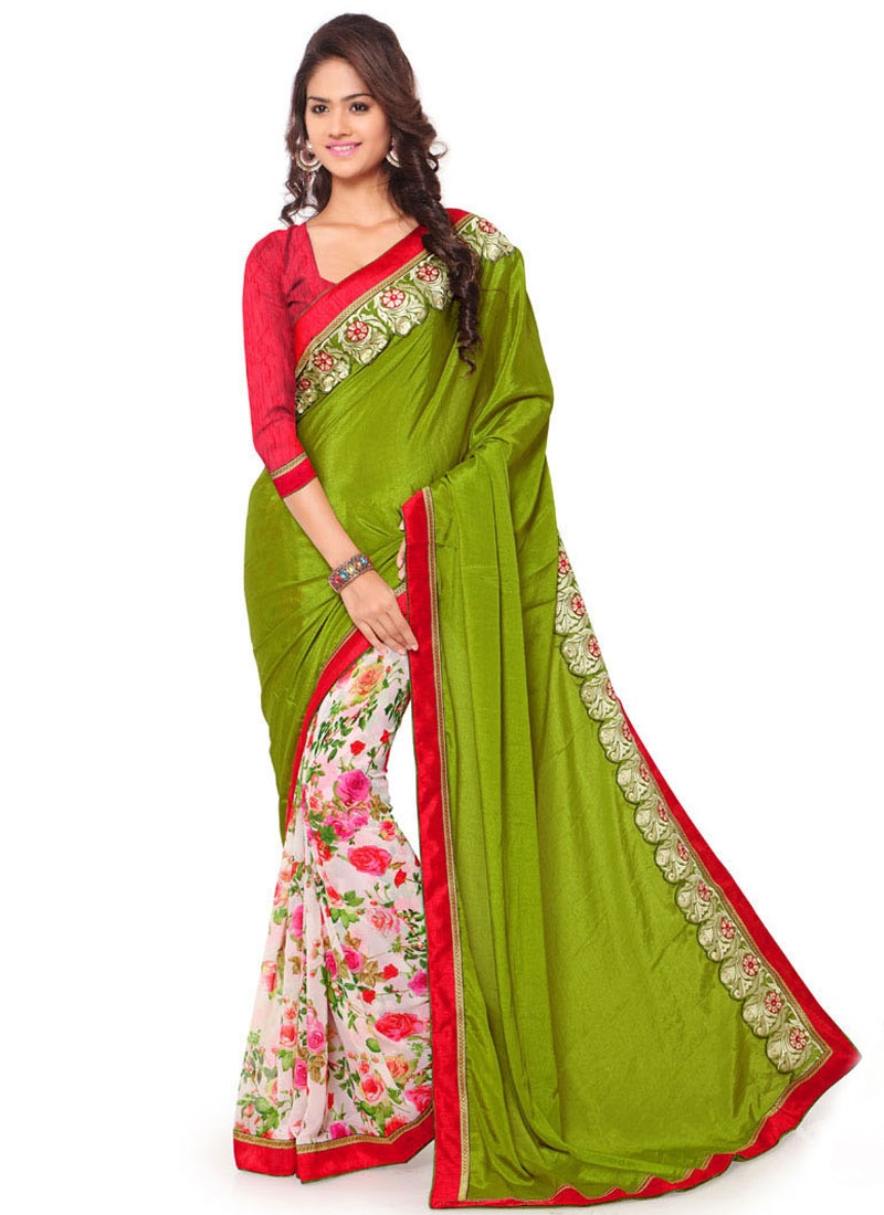 Specialised Olive And Off White Color Half N Half Casual Saree