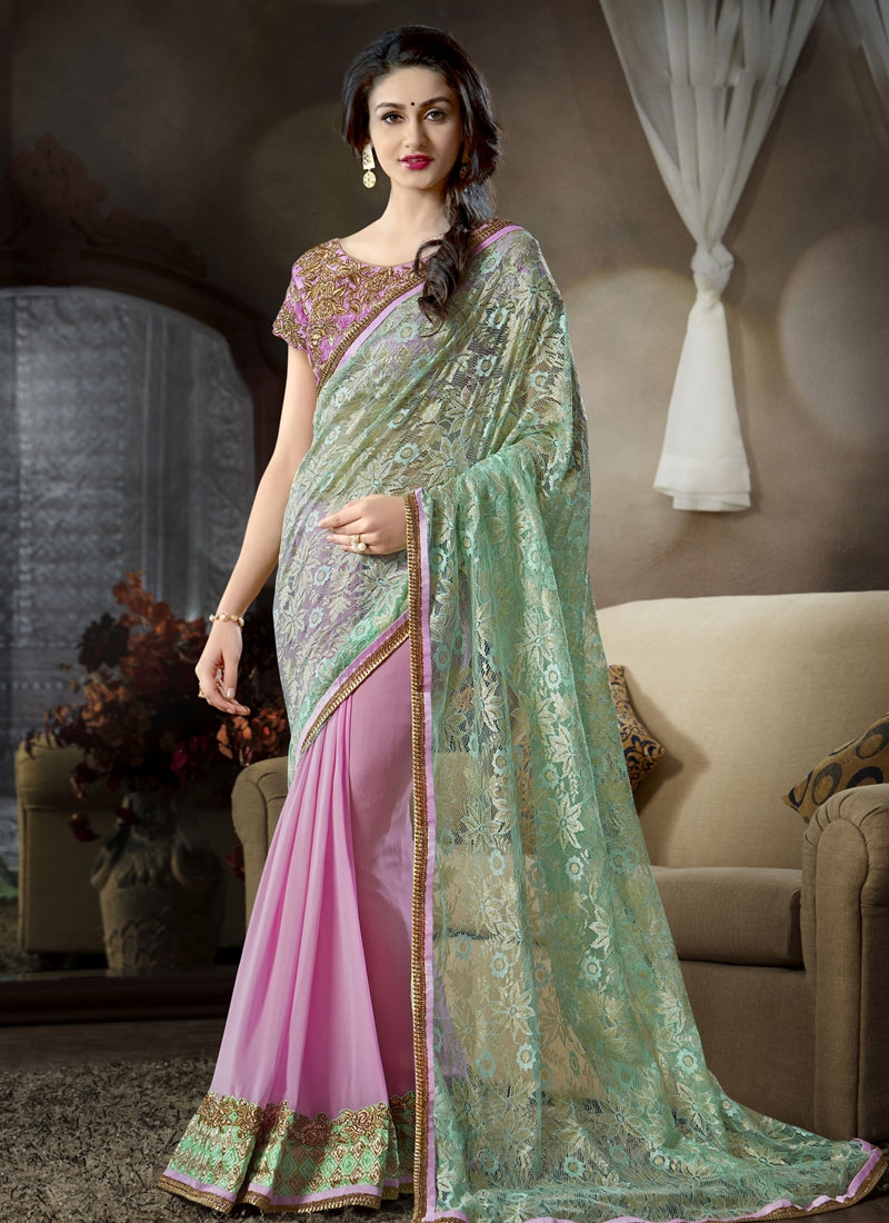 Specialised Patch Border Work Half N Half Party Wear Saree