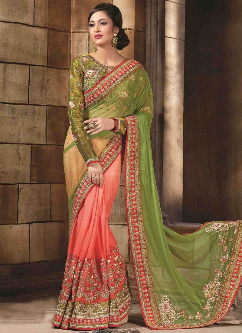 Specialised Patch Border Work Silk Half N Half Wedding Saree