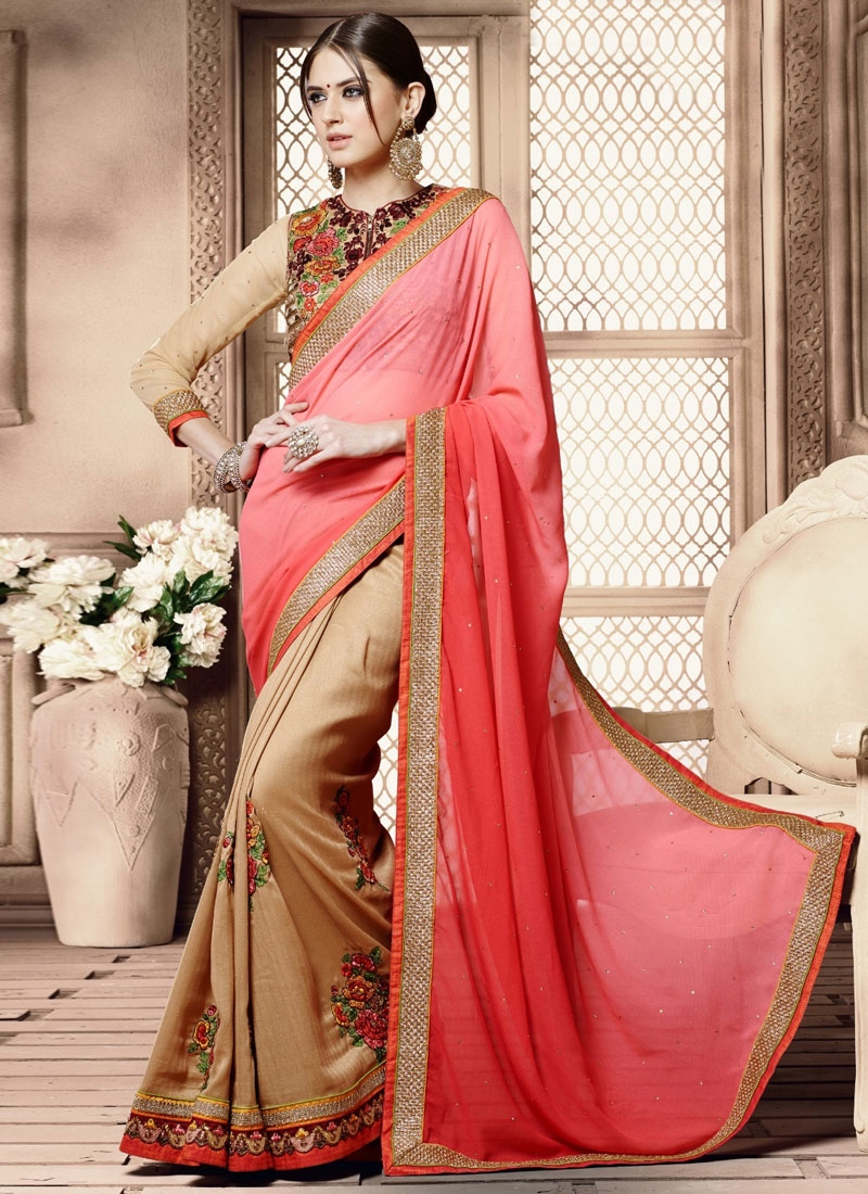 Specialised Pure Georgette Half N Half Designer Saree