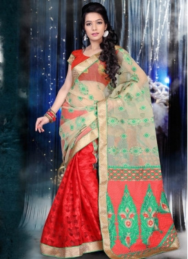 Specialised Red Color Jacquard Half N Half Party Wear Saree